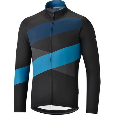 Shimano Clothing Men's Thermal Team Jersey, Black/Blue